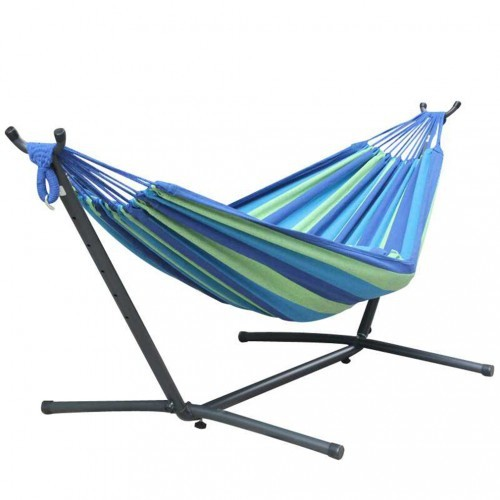 Portable Ocean Blue Double Hammock With Steel Stand And Carrying Bag