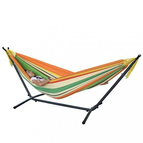 Portable Tropical Double Hammock With Steel Stand And Carrying Bag
