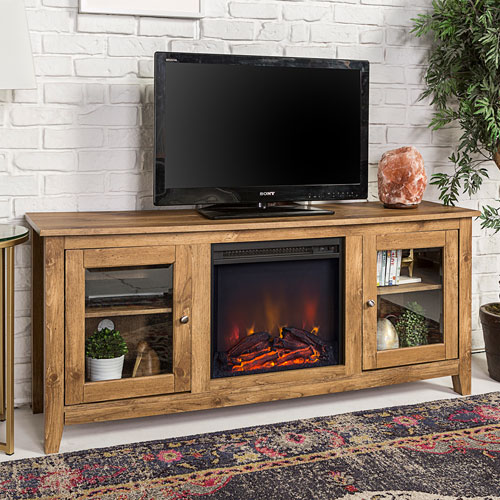 """Winmoor Home Transitional 60"""" Fireplace TV Stand - Barnwood"""