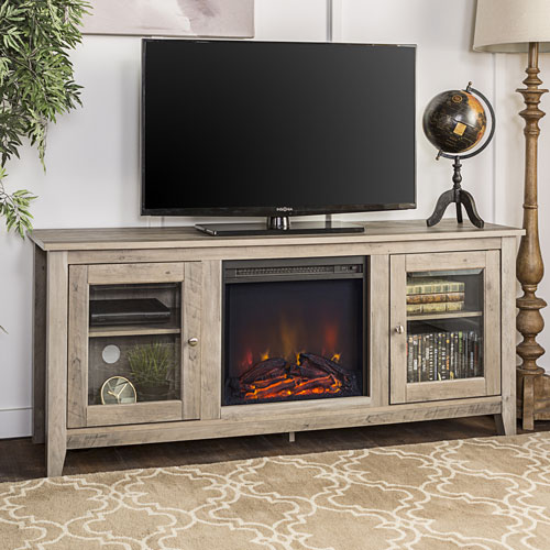 """Winmoor Home Transitional 60"""" Fireplace TV Stand - Grey"""