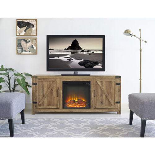 """Winmoor Home Barn Door 60"""" Fireplace TV Stand - Barnwood"""