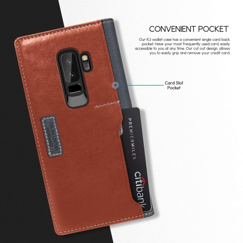 check out 96873 c27b8 Galaxy S9 PLUS Case, OBLIQ [K3 WALLET], Flip Cover with Four Credit Card &  ID Pocket Slots Stylish Wallet Case made with Premi