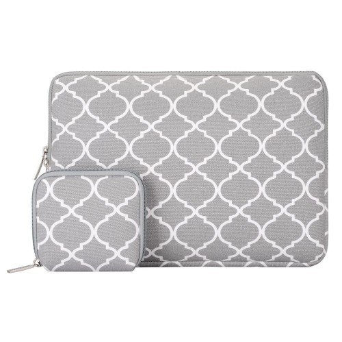 Mosiso Quatrefoil Style Canvas Fabric Laptop Sleeve Bag Cover For 15