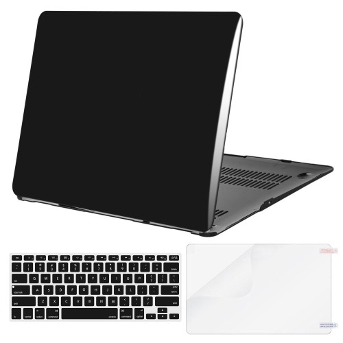 more photos 5944b 6cd72 Mosiso Plastic Hard Case with Keyboard Cover with Screen Protector for  MacBook Air 13 inch (Model: A1369 and A1466), Jet Black