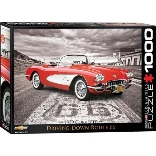 1959 Corvette Driving Down Route 66 1000-Piece Puzzle