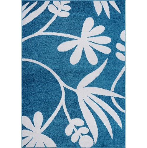Ladole Rugs Botanical Style Area Rug Carpet in Blue and Cream, 5x7