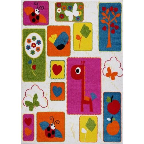 Ladole Rugs Cream Multi Nature Theme Kids Area Rug Carpet, 4x6