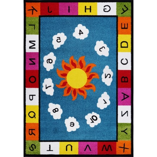 Ladole Rugs Number and Alphabets Kids Area Rug Carpet in Blue Multi, 5x7