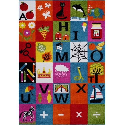 Ladole Rugs Alphabets Theme Adorable Soft Comfortable Area Rug Carpet in Multicolor, 4x6