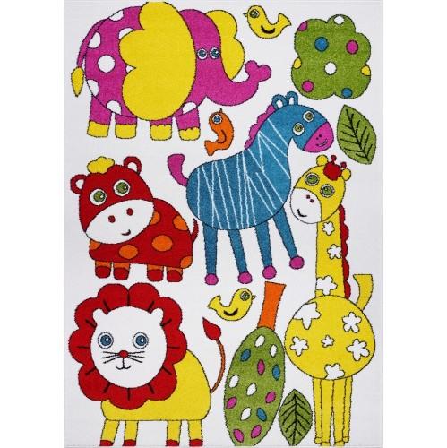 Ladole Rugs Animals Theme Indoor Kids Area Rug Carpet in Cream-Multi, 4x6