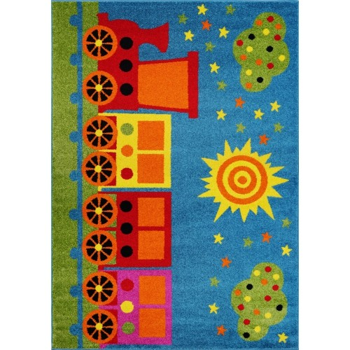 Ladole Rugs Toy Train and Sky Theme Area Rug Carpet in Blue Multi, 4x6