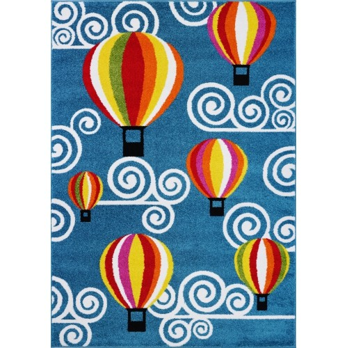 Ladole Rugs Hot Air Balloon Kids Area Rug Carpet in Blue and Multi 6x9