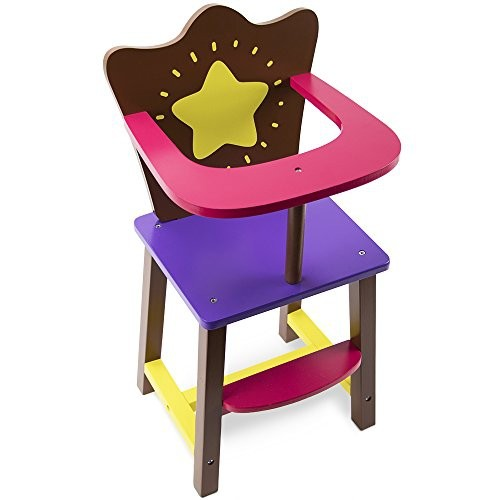 Star Bright Colorful Doll High Chair Fits 18 American Girl Dolls