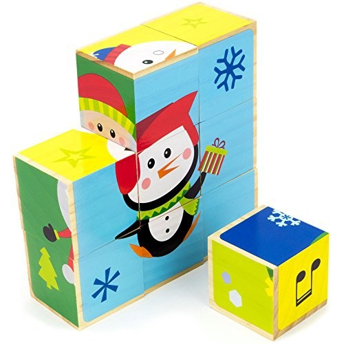 Holly Jolly Holidays Stacking Puzzle Blocks Mix Match 9 Wooden Blocks To Create 6 Christmas Scenes By Imagination