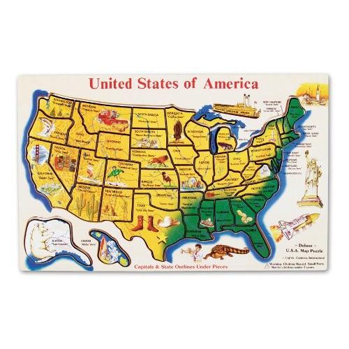 Usa Map Puzzles Online.Melissa Doug Usa Map Wooden Puzzle 45 Pcs Puzzles Best Buy