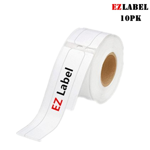 """10 Rolls EZlabel DYMO Compatible 30327 Self-Adhesive File Folder Labels, 9/16"""" x 3 7/16"""", White, 130 labels/Roll"""