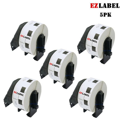 5 Rolls EZlabel Brother DK1221 Square Paper Labels 0.9 in / 23mm square, 1000 Labels