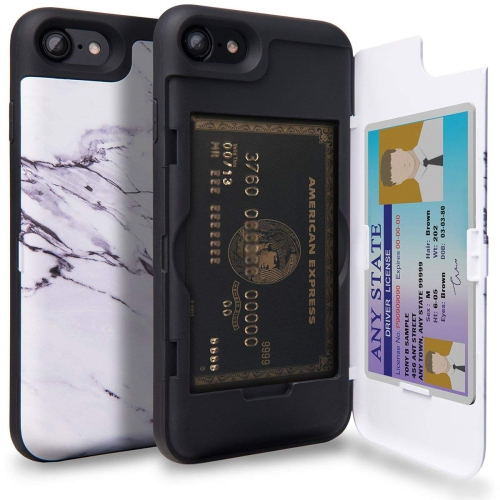 Iphone 7 Case Toru Iphone 7 Wallet Case Pattern Marble Dual Layer Hidden Credit Card Holder Id Slot Card Case With Mirror F Best Buy Canada