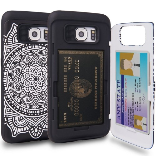 reputable site 7275a 131b4 Galaxy S6 Edge Case, TORU [S6 Edge Wallet Case Pattern Mandala] Protective  Slim Fit Dual Layer Hidden Credit Card Holder ID Sl