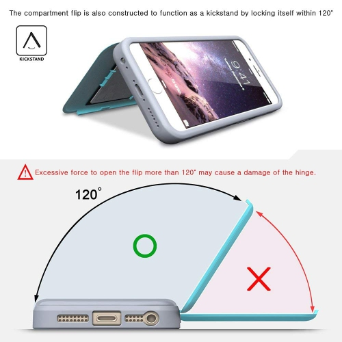 more photos 4a61f 5fb6d iPhone 6S Plus Case, TORU [iPhone 6S Plus Wallet Case] Protective Slim Fit  Dual Layer Hidden Credit Card Holder ID Slot Card C