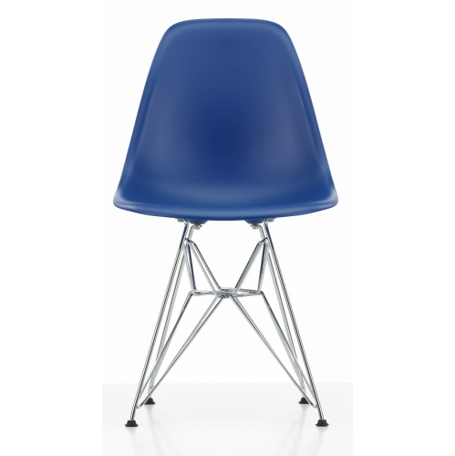 Heavenly Collection Eiffel Chair With Chrome Base In Dark Blue