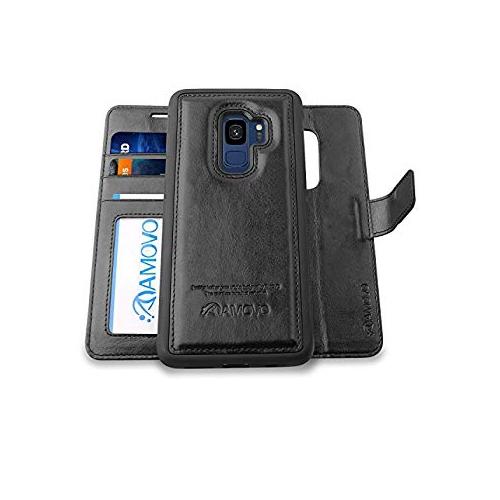 newest 8ff43 50bc8 AMOVO Galaxy S9 Case [2 in 1] Samsung Galaxy S9 Wallet Case [Detachable  Wallet Folio] [Premium Vegan Leather] Samsung S9 Flip