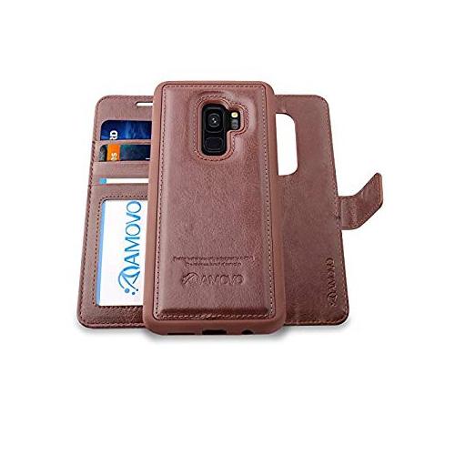 newest 35ae3 ef93a AMOVO Galaxy S9 Case [2 in 1] Samsung Galaxy S9 Wallet Case [Detachable  Wallet Folio] [Premium Vegan Leather] Samsung S9 Flip