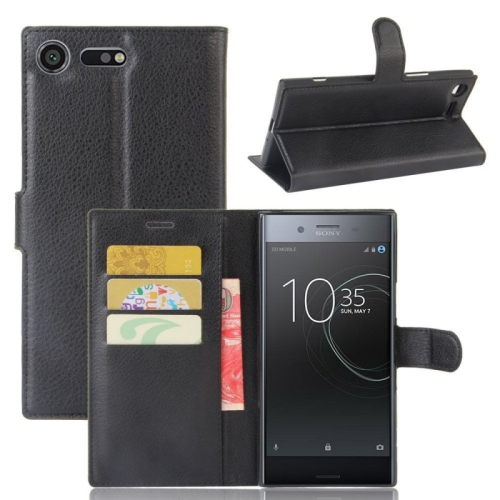 the latest 50afa 84ce9 Leather Wallet Flip Case For Sony Xperia Xz1 - Black