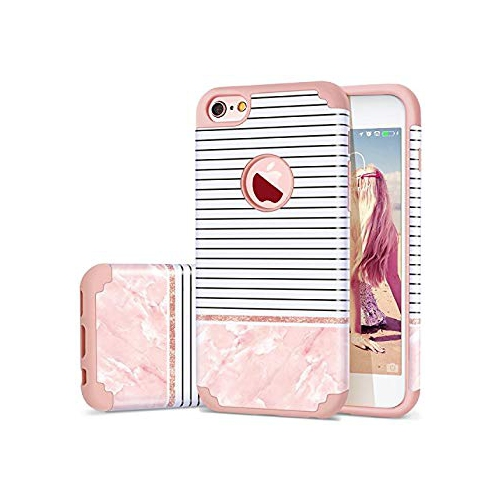 af8717509b0 iPhone 6s Case for Girls-iPhone 6 Case-Fingic Hybrid 2 in 1 Slim Case  Stylish Stripes Design Hard PC  Inner Rubber Cute Protec - Online Only