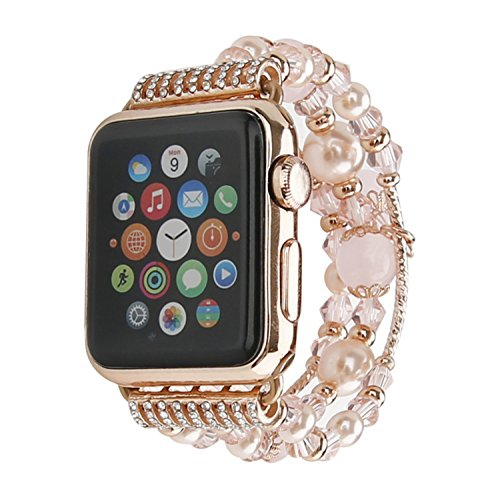 0b75427355d GEMEK Compatible Apple Watch Band 38mm 40mm Rose Gold Women Pearl Bracelet  Strap Fashion Handmade Elastic Agate Replacement i - Online Only
