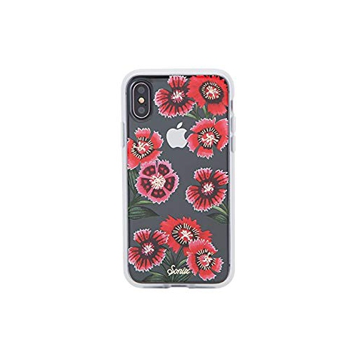 iPhone XS iPhone X Sonix Geranium (red flowers) Cell Phone Case  Military  Drop Test Certified  Women s Protective Clear Ser - Online Only 9f1a2f3b37