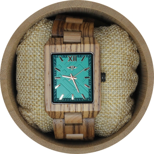 Angie Wood Creations Zebrawood Women S Watch With Green Dial
