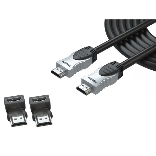 Pwr+ 50 Ft 4K-HDMI-Cable 2.0 With 90-Degree-Adapter For