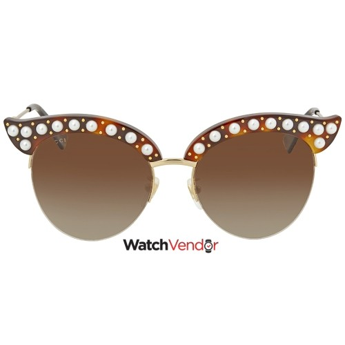 acd42b2e33 Gucci Brown Gradient Cat Eye with Pearls Sunglasses GG0212S 002 53 ...