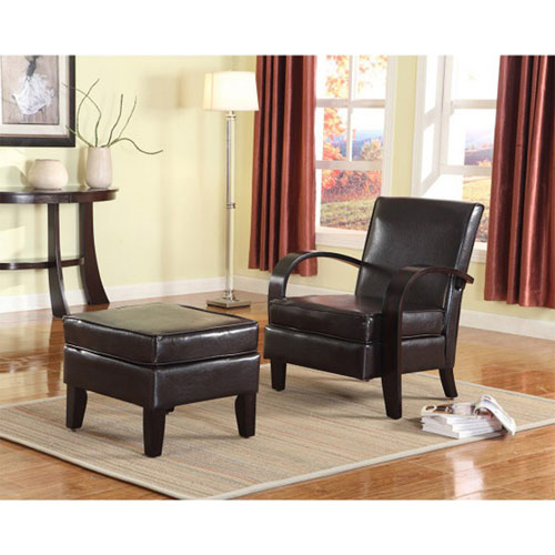 Brilliant Verona Faux Leather Accent Chair With Ottoman Brown Ibusinesslaw Wood Chair Design Ideas Ibusinesslaworg