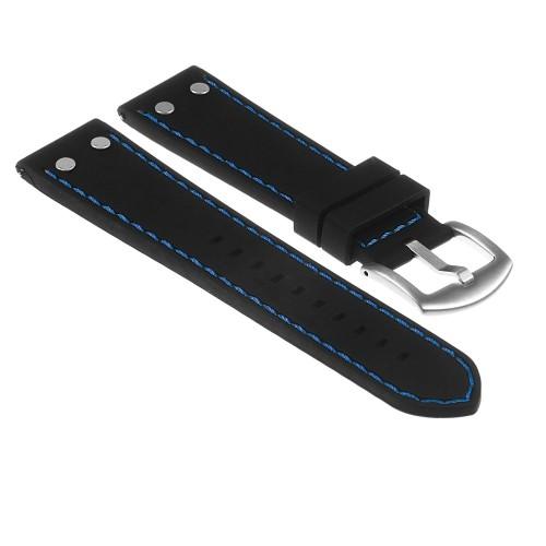 grandes marques complet dans les spécifications haut fonctionnaire StrapsCo Bracelet de Montre d'Aviateur en Caoutchouc de Silicone avec  Rivets - Dégagement Rapide - 18mm Noir & Bleu