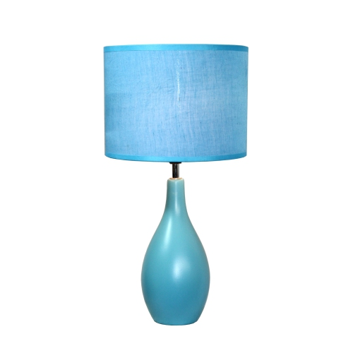 Simple Designs Living Room Oval Ceramic Base Table Lamp - Blue