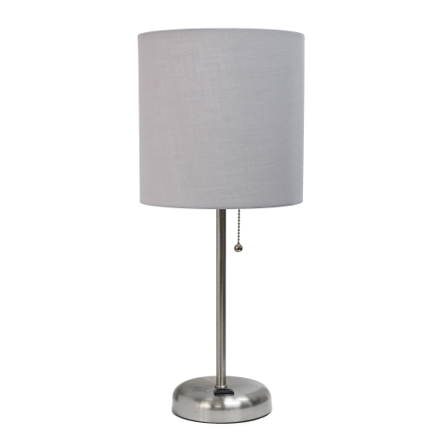 LimeLights Decorative Stick Lamp with Charging Outlet and Fabric Shade, Grey