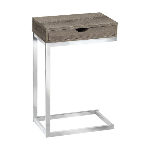 Accent Table Chrome Metal Dark Taupe With A Drawer
