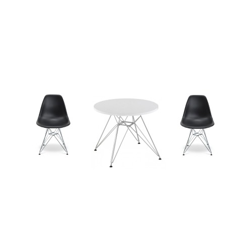 Remarkable Eames Style Eiffel Kids Chrome Set Includes 2 Chairs And A Table In Black Cjindustries Chair Design For Home Cjindustriesco