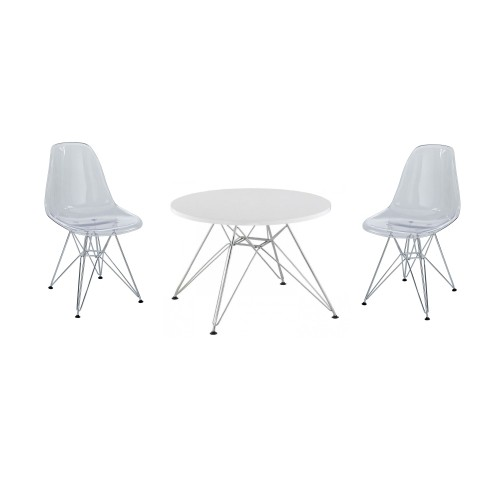 Terrific Eames Style Eiffel Kids Chrome Set Includes 2 Chairs And A Table In Clear Cjindustries Chair Design For Home Cjindustriesco