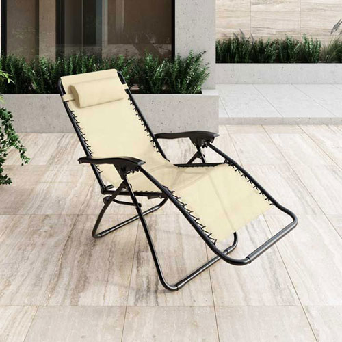 Riverside Vinyl Folding Patio Chair Cream Patio Chairs Seating
