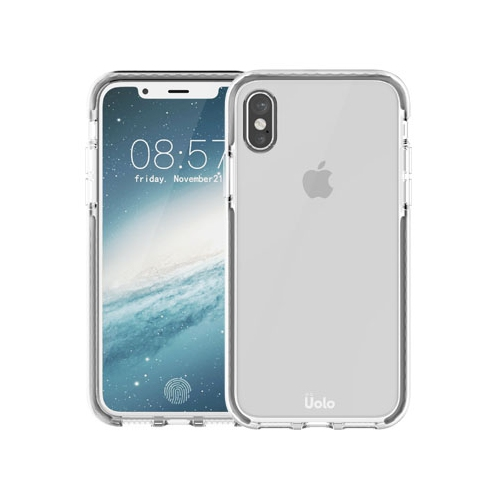 san francisco 2b521 758a5 Uolo [Soul] POP iPhone Xs/X Slim Case [Hybrid TPU] Includes Tempered Glass  Screen protector (Clear/Grey)