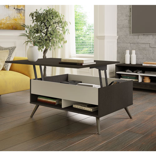 Small Space Krom Modern Rectangular Coffee Table With Lift