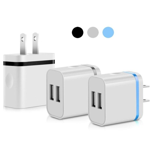 New! SEGMOI® 5V/2 0Amp US Plug Dual USB Port 2 Ports Travel Wall Charger  Easy Grip Home Power Adapter for iPhone 6S SE 5S iPad Min - Online Only