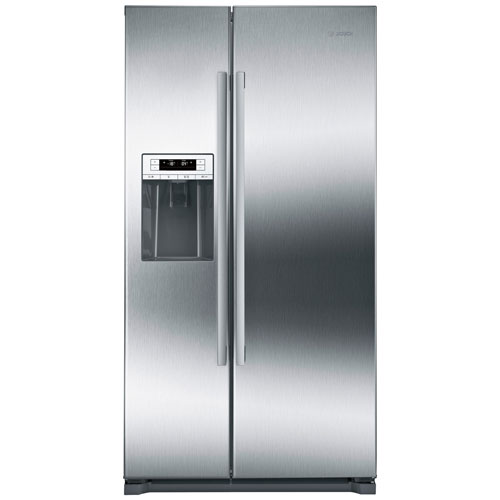 """Bosch 36"""" 20.2 Cu. Ft. Counter-Depth Side-by-Side Refrigerator - Stainless Steel"""