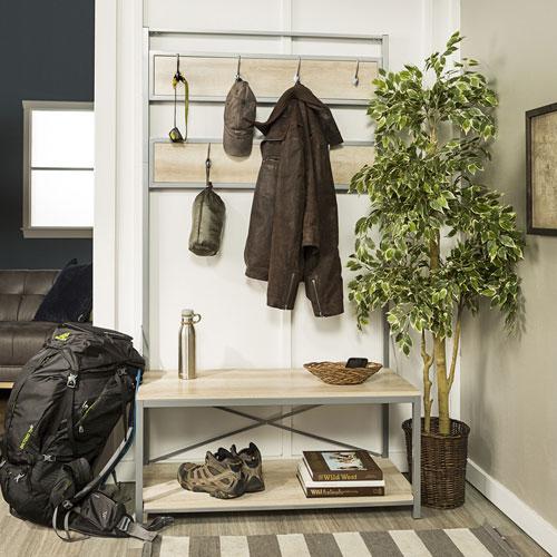 Portemanteau avec banc de style transitionnel de Winmoor Home - Chêne blanc