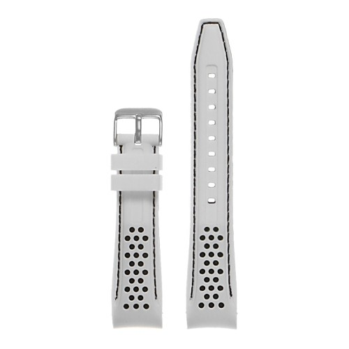 a04567644e0 StrapsCo Perforated Silicone Rubber Rally Racing Watch Band Strap with  Curved Ends - 20mm White   Black - Online Only