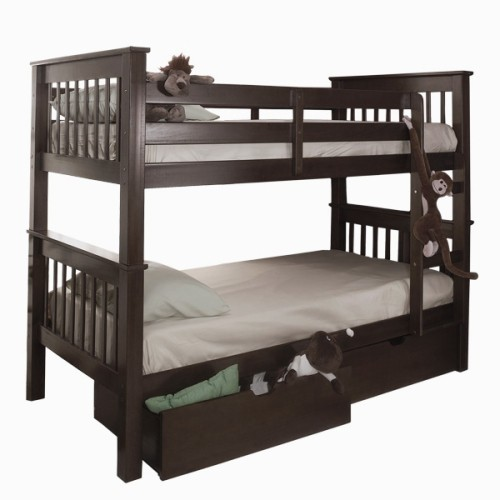 finest selection 17187 9c00c Mission Twin over Twin Bunk Bed with Storage Drawers