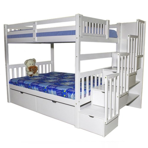 Staircase Full Over Full Bunk Bed With Trundle Beds Bed Frames